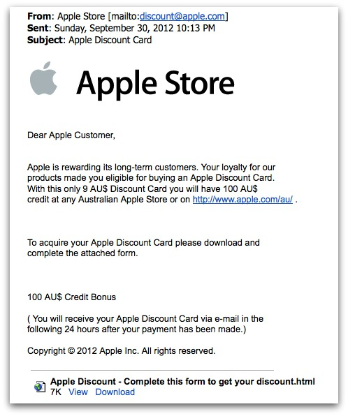 Bogus Apple discount card email