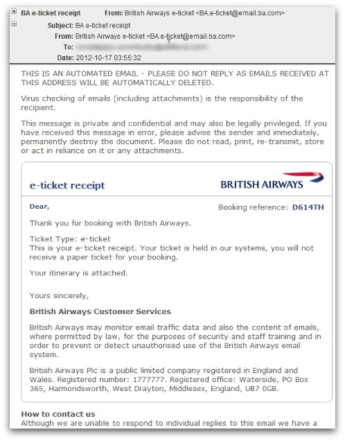 British Airways malicious email. Click for larger version