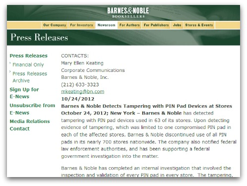 Barnes & Noble statement