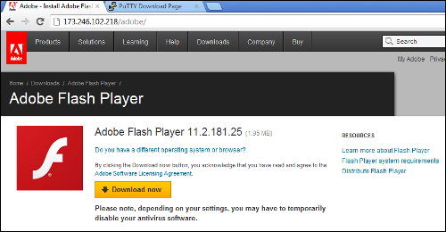 Fake Adobe download page served by Blackhole exploit kit