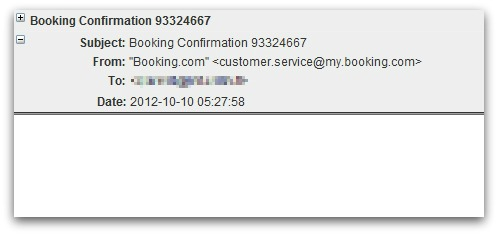 Malicious email claiming to come from Booking.com