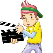 Man with clapperboard. Image from Shutterstock