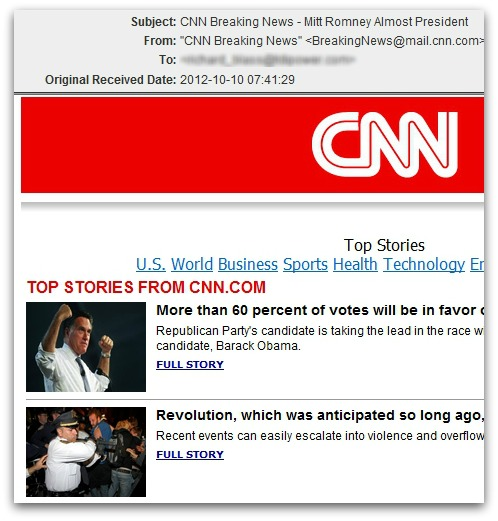 Fake CNN email linking to malware. Click for a larger version