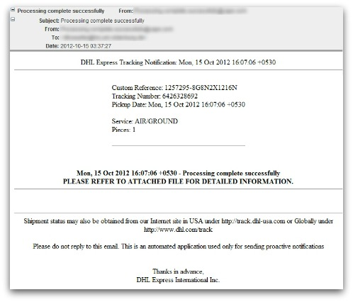DHL malicious email. Click for larger version