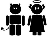 Angel and devil, courtesy of  Shutterstock