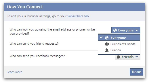 Are you allowing anyone to search for you on Facebook via your phone number?