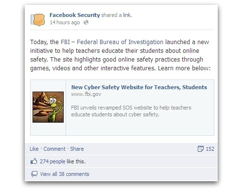 Facebook Security post