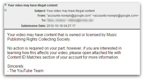 Malicious email, claiming to come from Google regarding illegal YouTube content