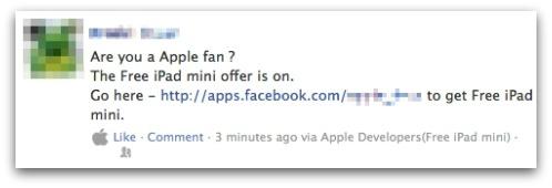 Free iPad Mini Facebook scam