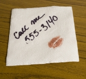 Phone number on a napkin. Image from Shutterstock