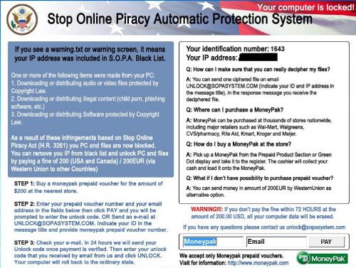 SOPA warning from Reveton ransomware