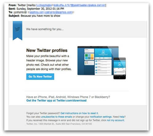 Spam claiming to be from Twitter