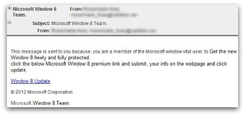 Windows 8 phishing email