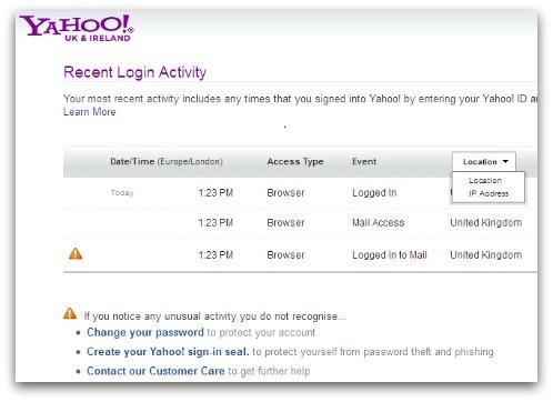 Yahoo activity details