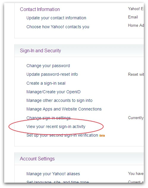 Yahoo settings