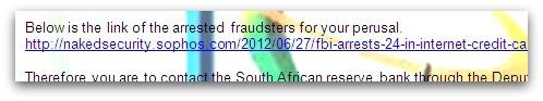 Link inside 419 scam