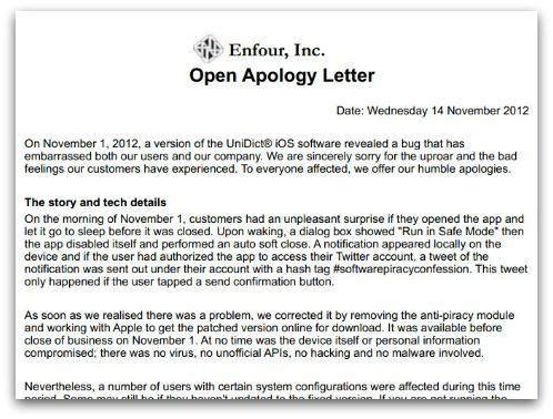 Apology from Enfour