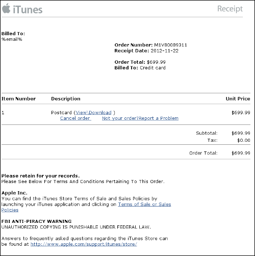 Apple spam invoice for $700 postcard