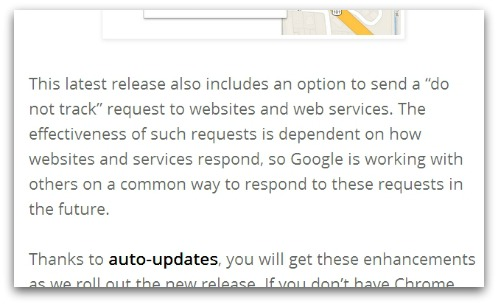 The Chrome blog slips in a mention of Do Not Track