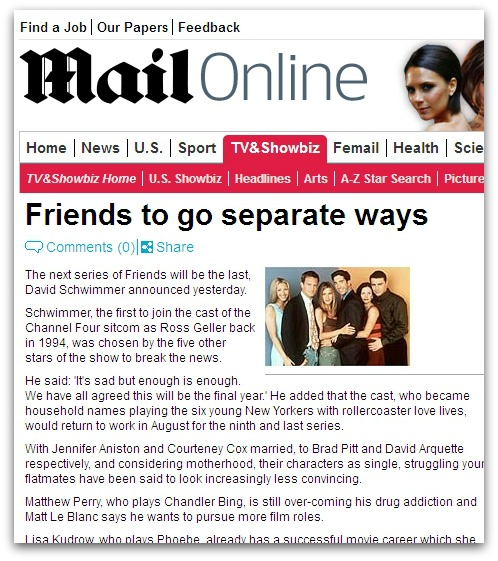 Daily Mail article about the demise of Friends