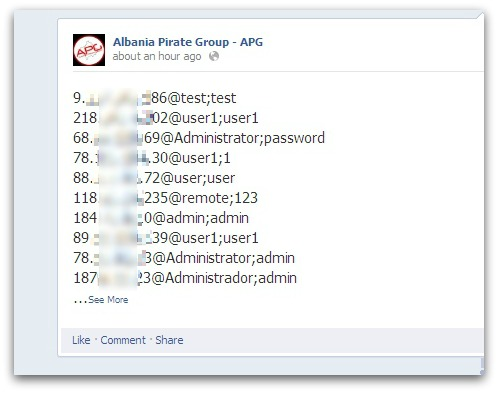 Usernames and passwords posted on the Albania Pirate Group Facebook page