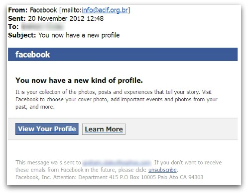 Email claiming to come from Facebook