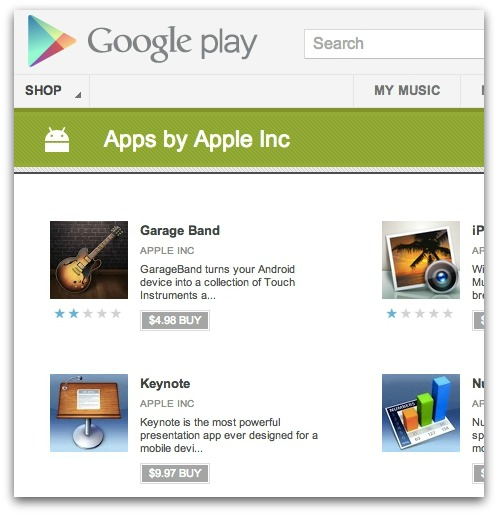 Fake Apple apps on the Android store. Click for larger version