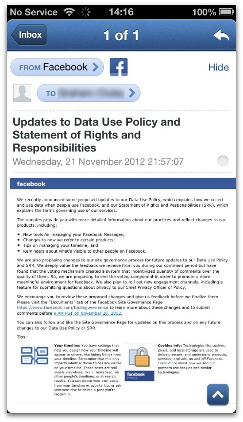 Facebook data policy email. Click for a larger version