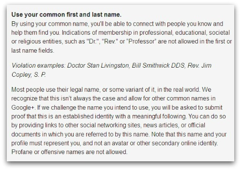 Google Plus real name rules
