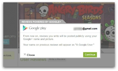 Google Play review notice. Click for larger version