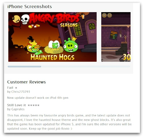 iTunes app store reviews, using pseudonyms