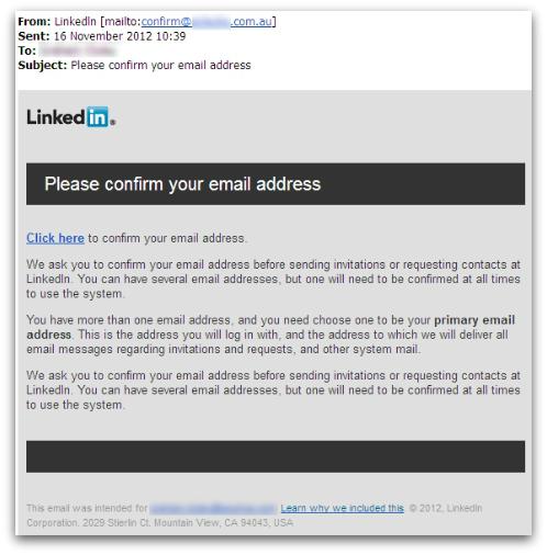 LinkedIn email spam