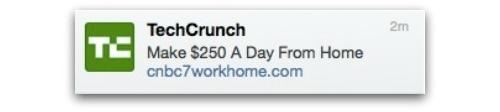 Tweet from hacked TechCrunch account