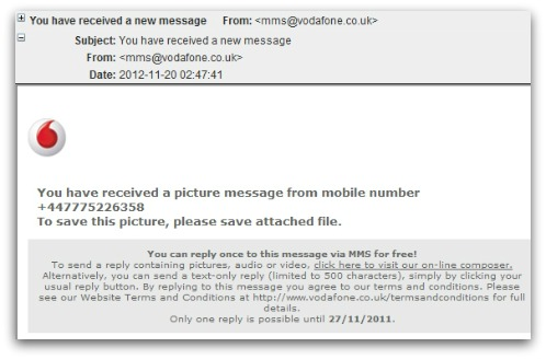 Malicious email claiming to come from Vodafone
