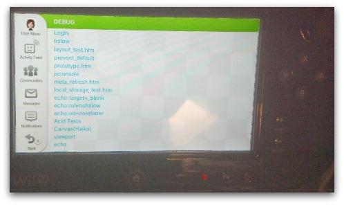 Debug menu on Wii U