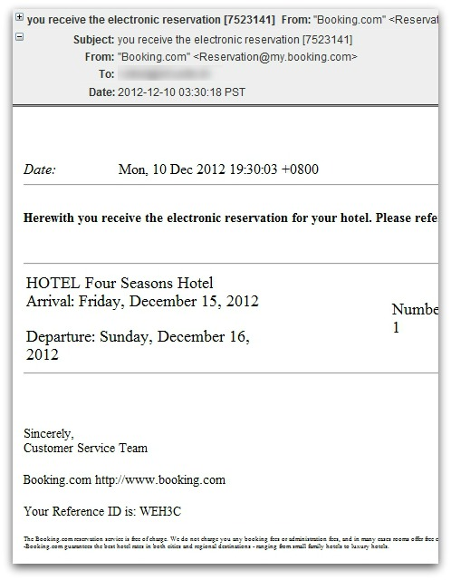 Malicious hotel booking email