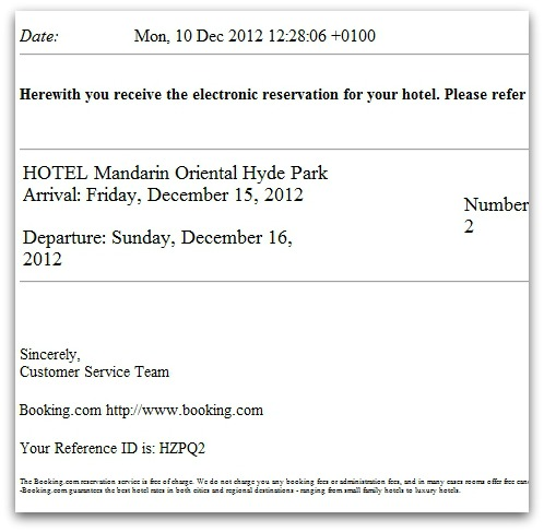 Nalicious hotel booking email