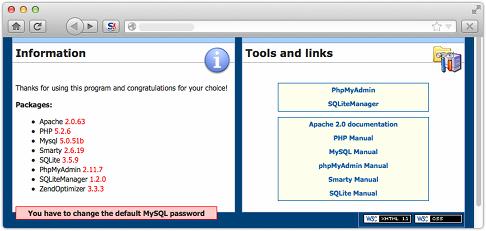 Sitio web con 'ahora configurar me' advertencias