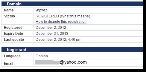 WHOIS registration details
