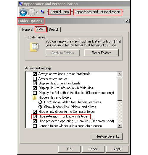 Hide extension in Windows 7