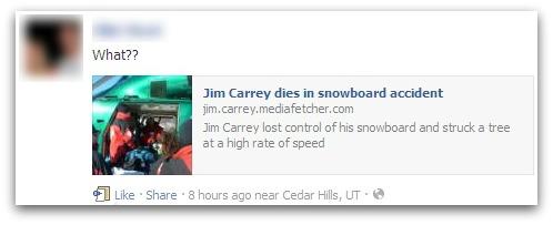 Fake Jim Carrey message on Facebook