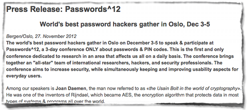 Passwords^12 conference press release