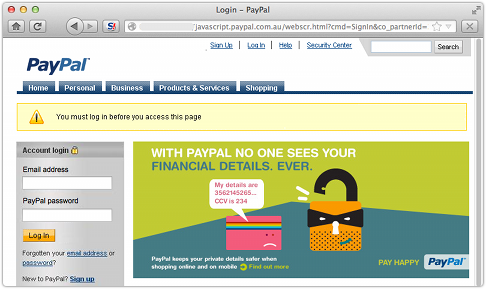 Sitio de phishing Paypal