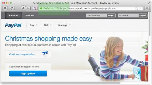 Sitio real de Paypal