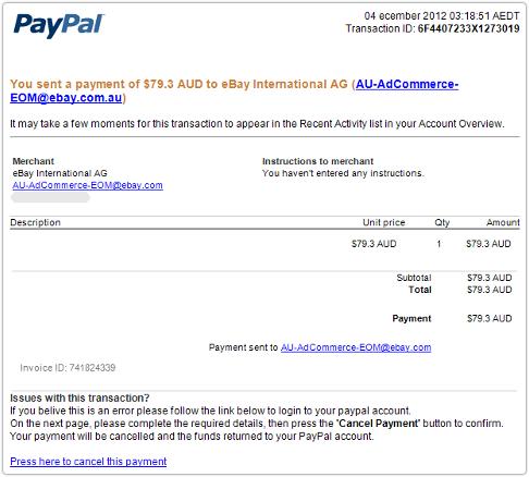 Correo electrónico de phishing Paypal