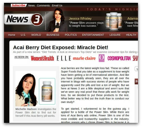 Acai Berry diet website, promoted by spam