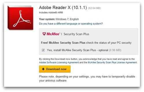 Adobe pimping McAfee