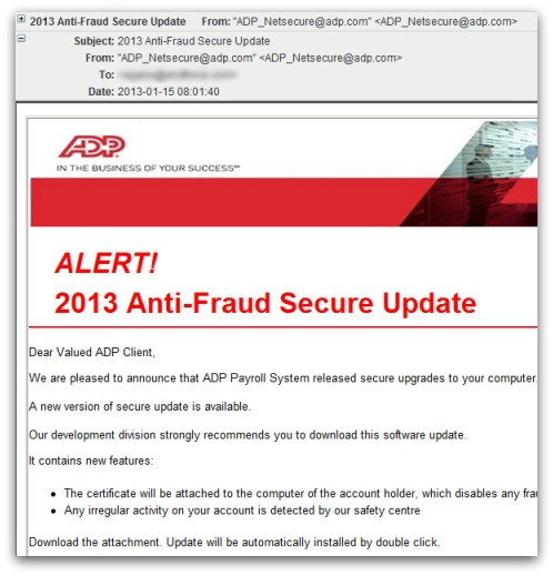 Example malicious email. Click for a full, larger version