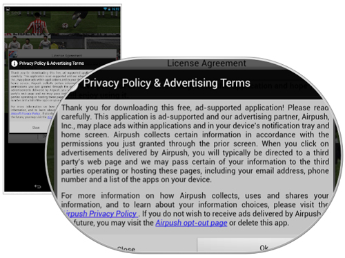 App's privacy policy